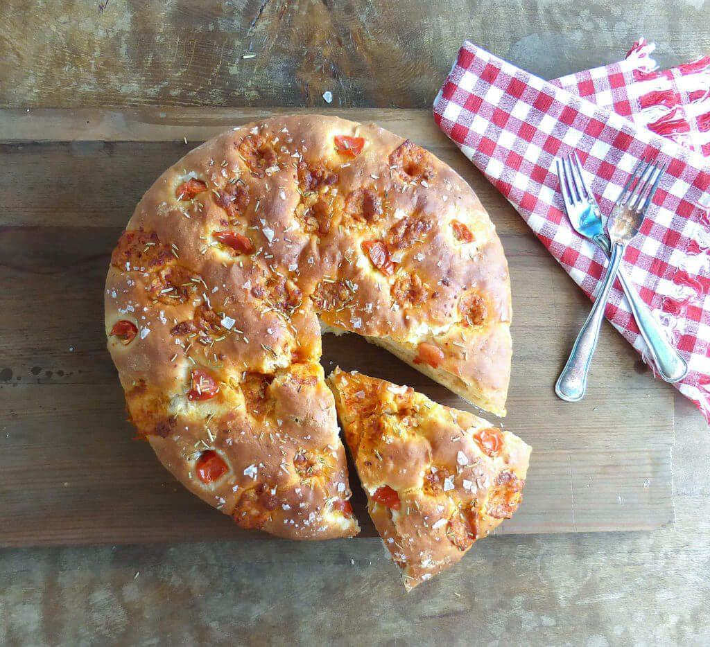 Monterey Pepper Jack Spelt Focaccia Bread (with Tomatoes and Rosemary)