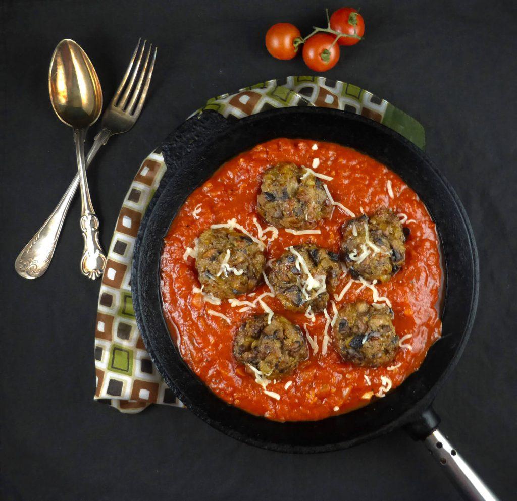 Mushroom Meatballs with Homemade Tomato Sauce
