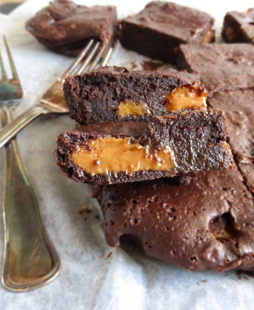 Caramel Fudge Spelt Brownies (the gooiest, fudgiest ever)